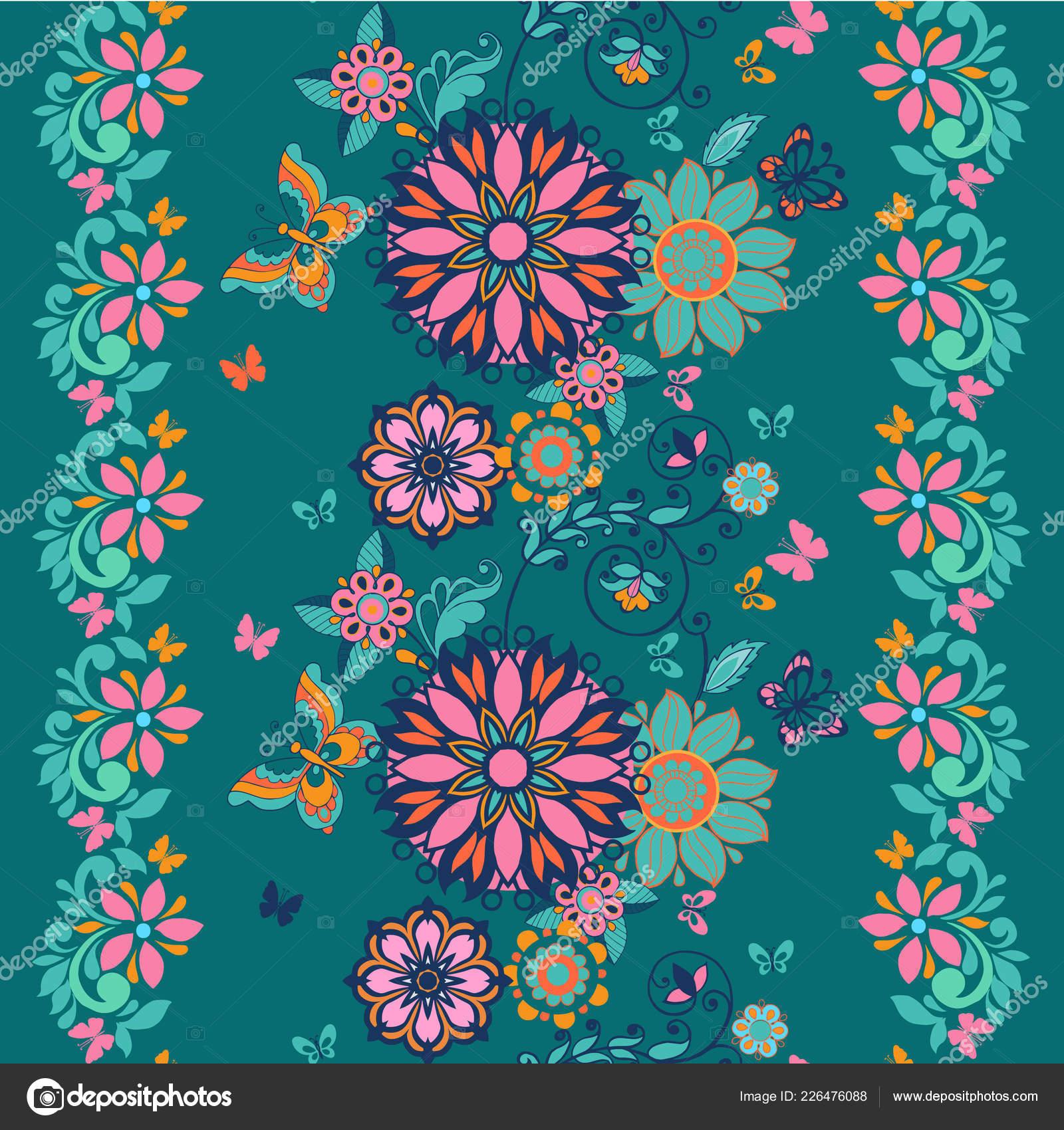 Folk Floral Seamless Pattern Modern Abstract Design Floral