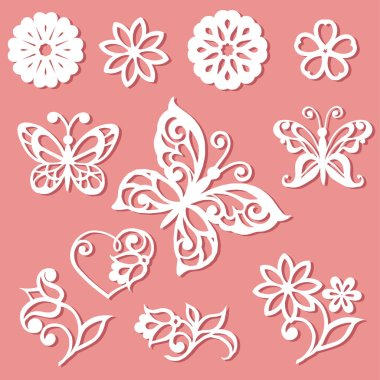 Set laser cutting template. Flowers, leaves and butterflies for the lace decoration -