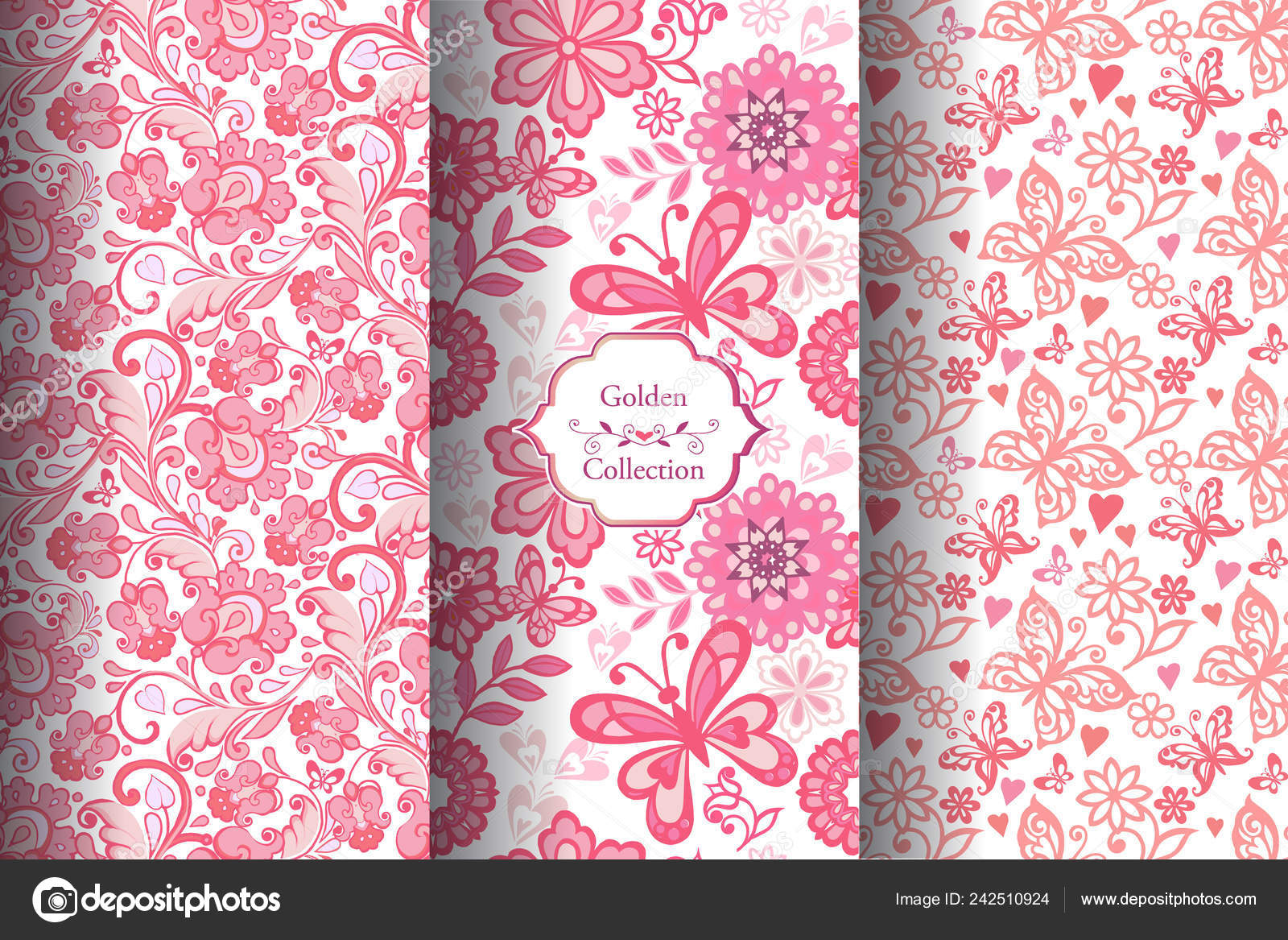 depositphotos 242510924 stock illustration pink set seamless floral pattern