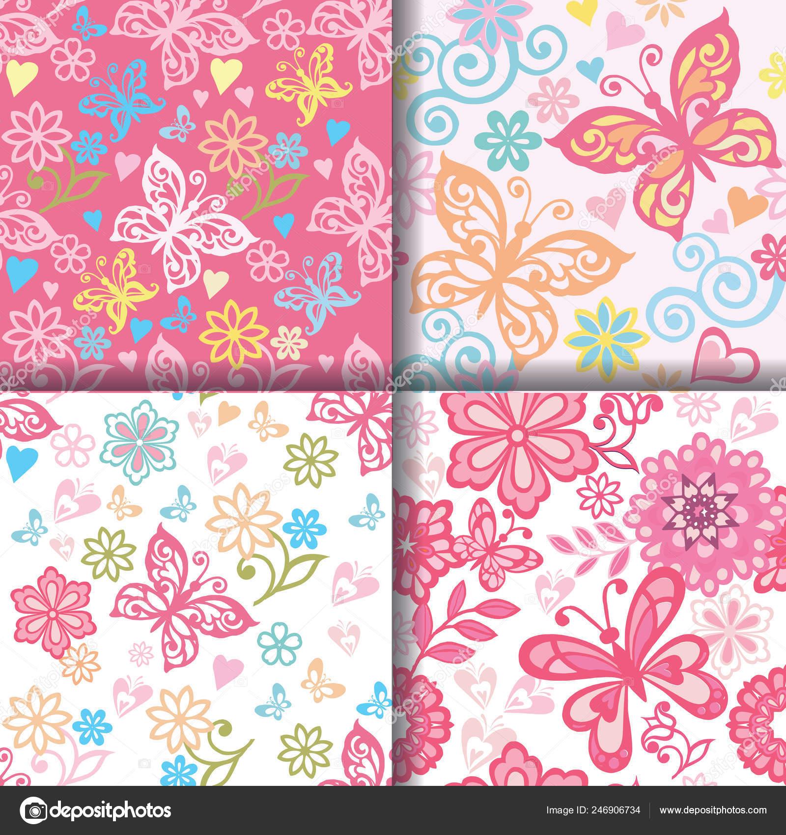 Set Cute Pink Heart Patterns Endless Texture Wallpaper Web