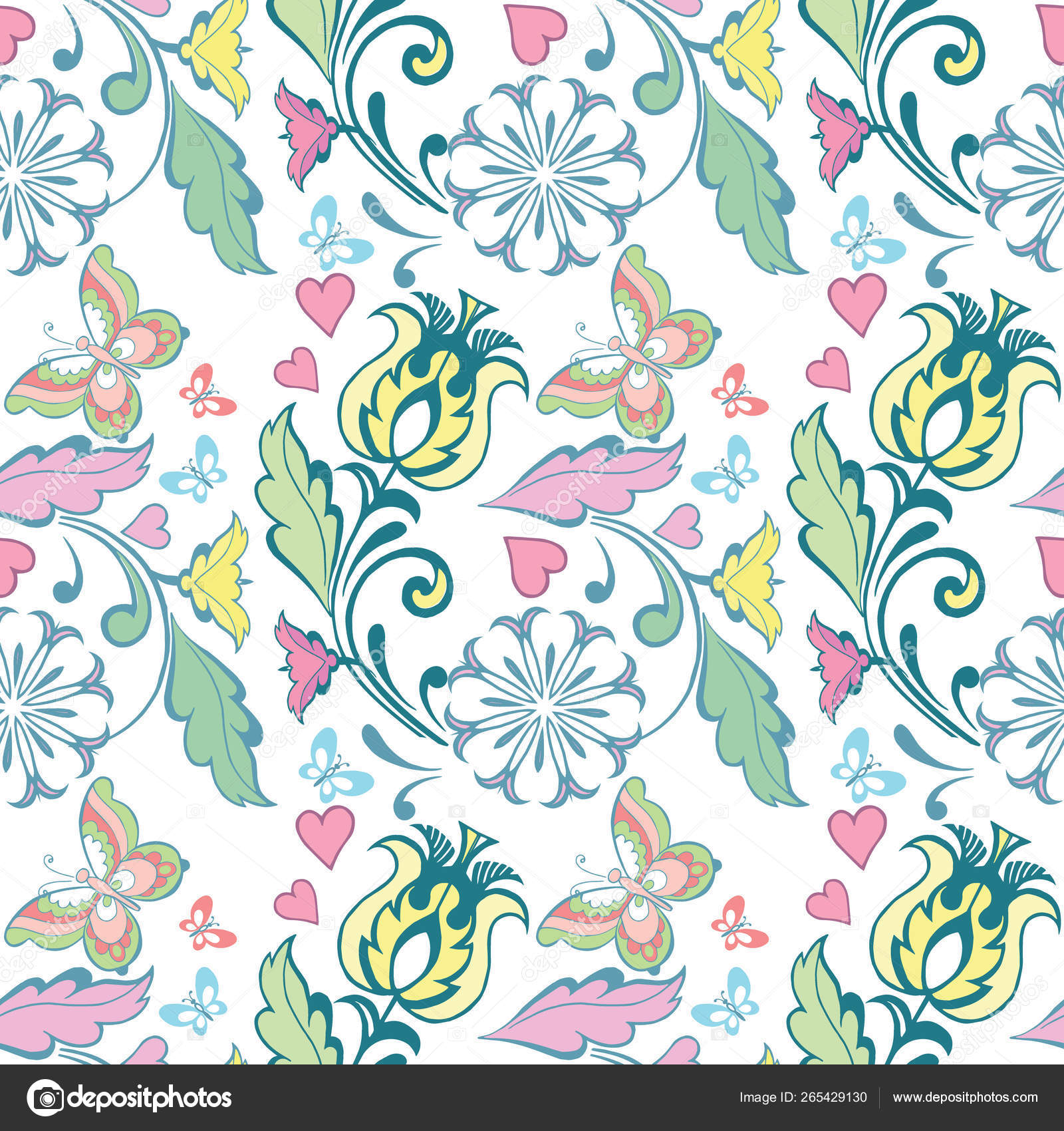 Summer Floral Seamless Patterns Butterflies Hearts Cute Floral