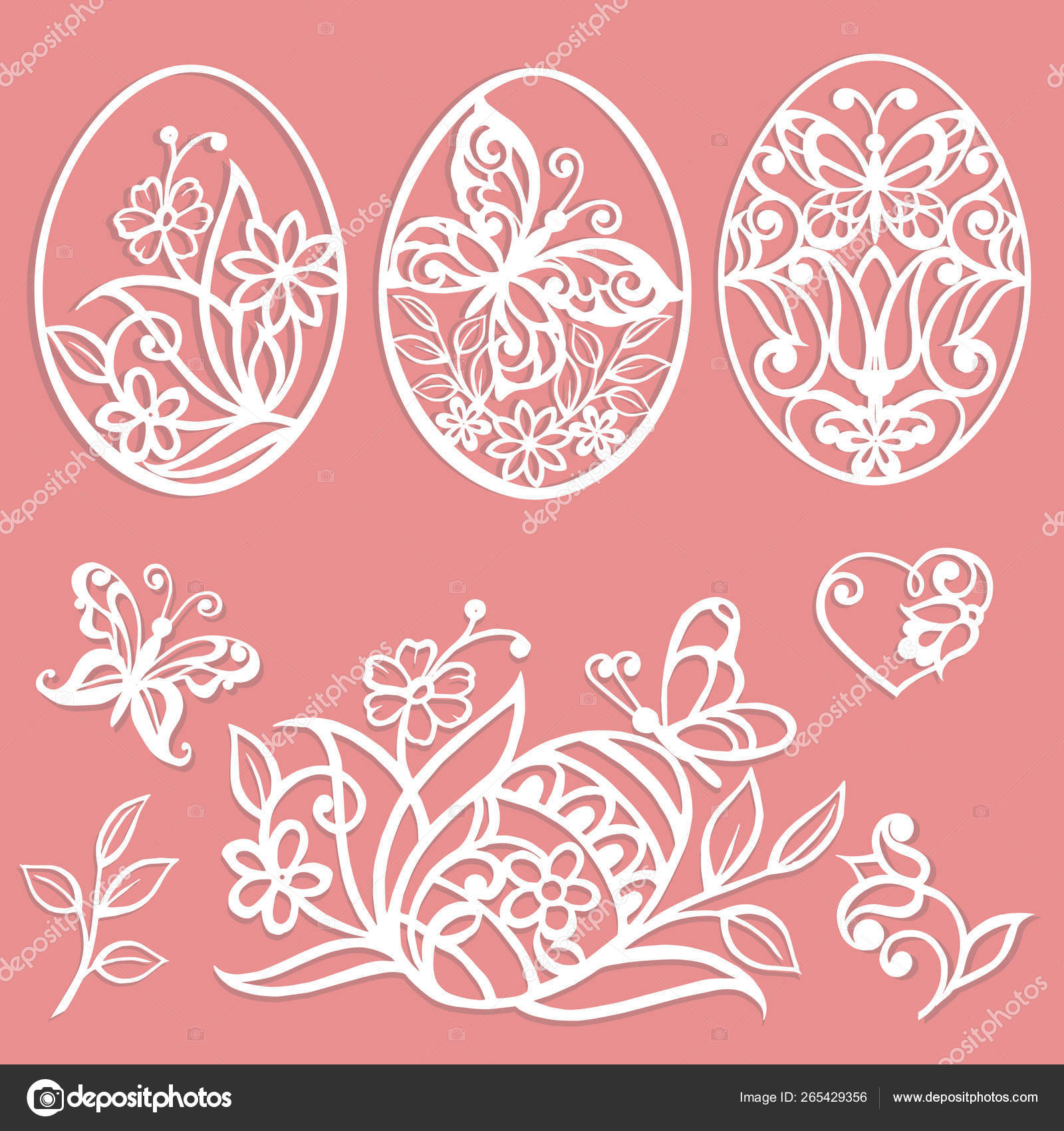 Easter Eggs Set Laser Cutting Template Flowers Leaves