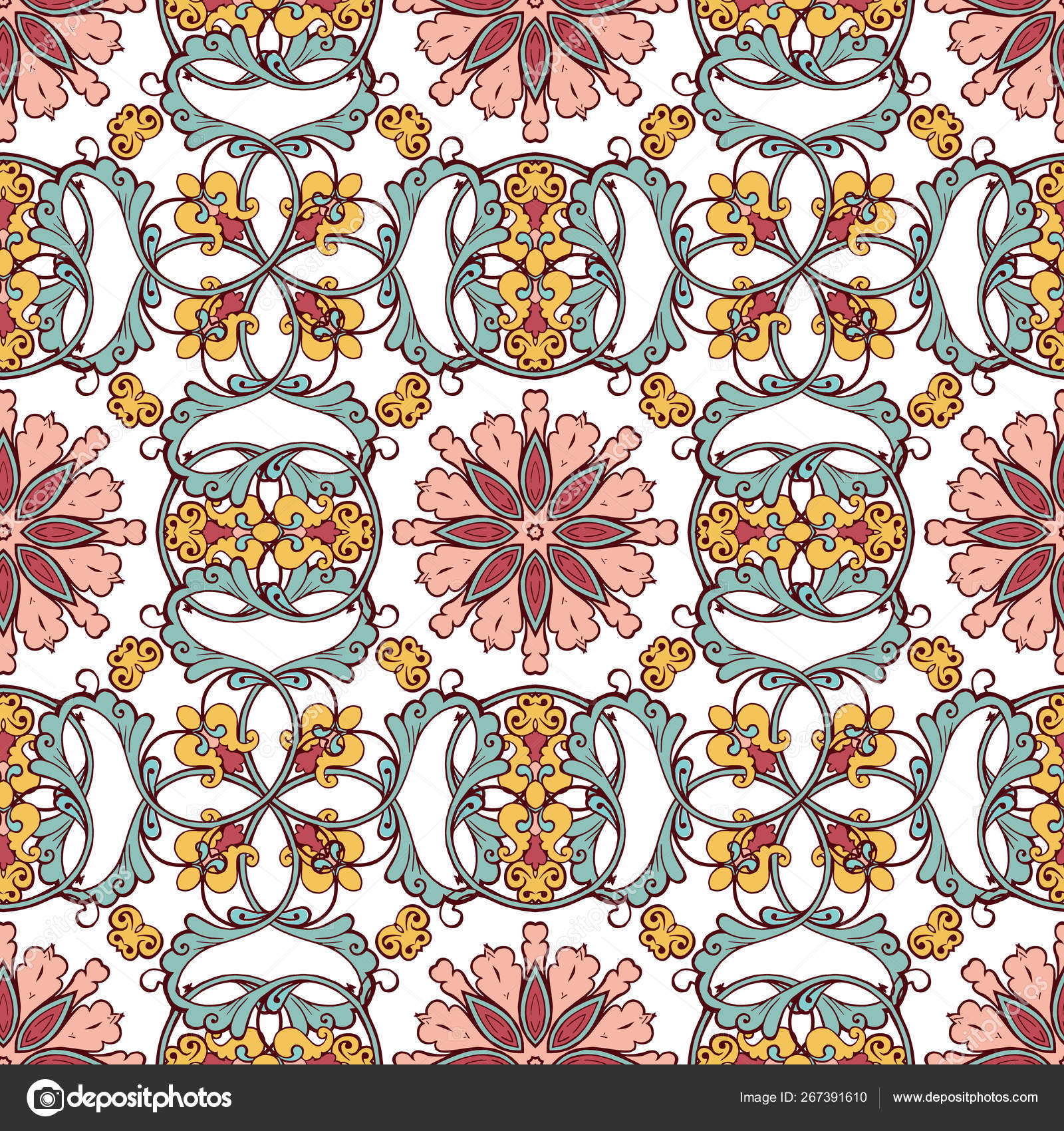 Vintage Floral Seamless Pattern Persian Pattern Pastel Colors