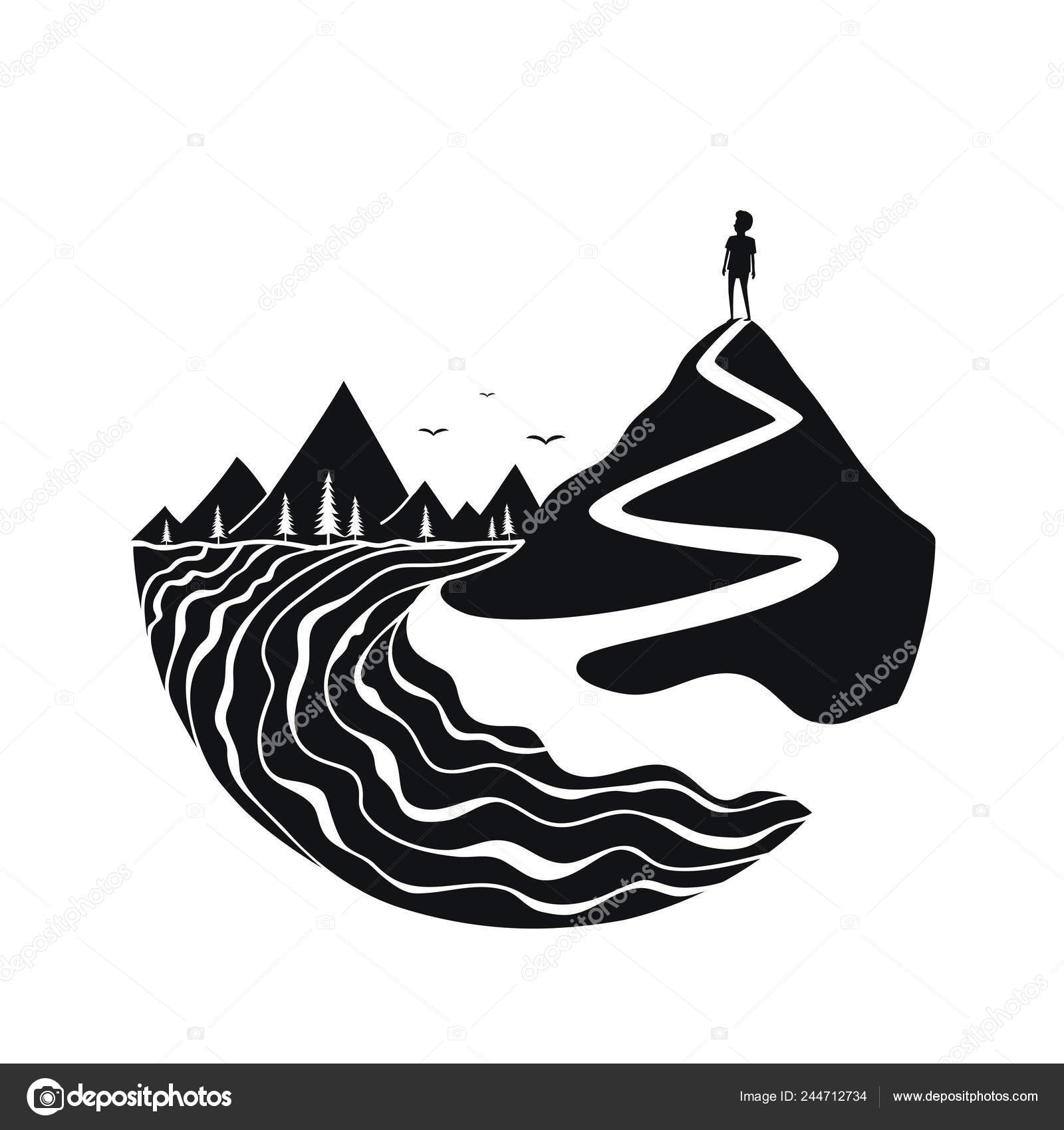 black white print design river birds mountains trail pine forest stock vector c julymilks 244712734 black white print design river birds mountains trail pine forest stock vector c julymilks 244712734