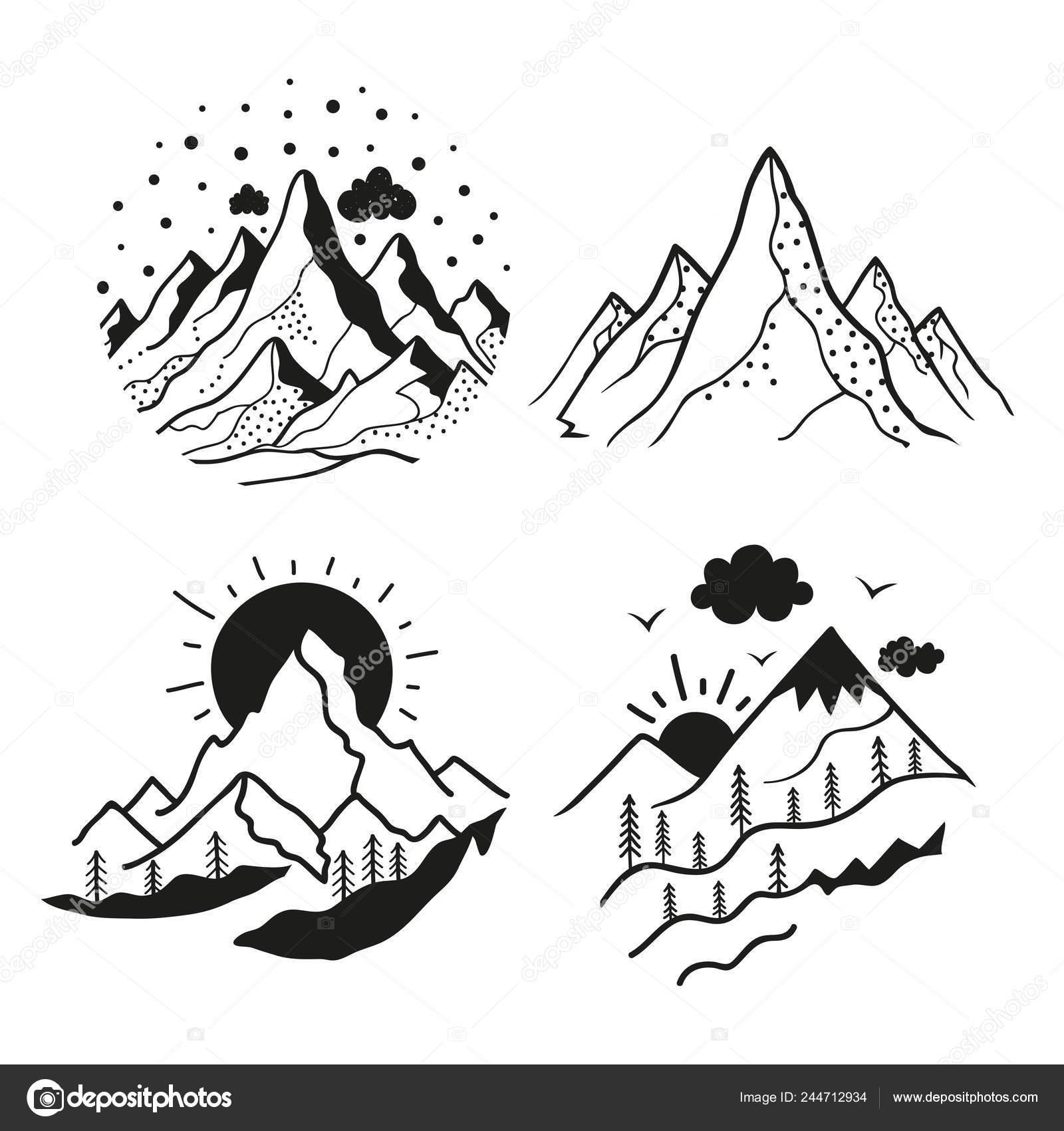 Vector Set Mit Emblem Stil Berglandschaften Schwarz Weiß