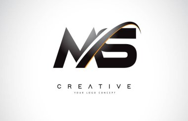 MS M S Swoosh Letter Logo Design with Modern Yellow Swoosh Curved Lines Vector Illustration.