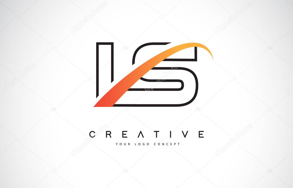 LS L S Swoosh Letter Logo Design with Modern Yellow Swoosh Curved Lines Vector Illustration.