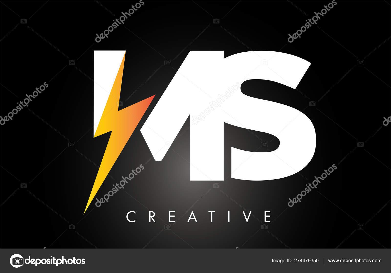 MS Letter Logo Design With Lighting Thunder Bolt  Electric Bolt