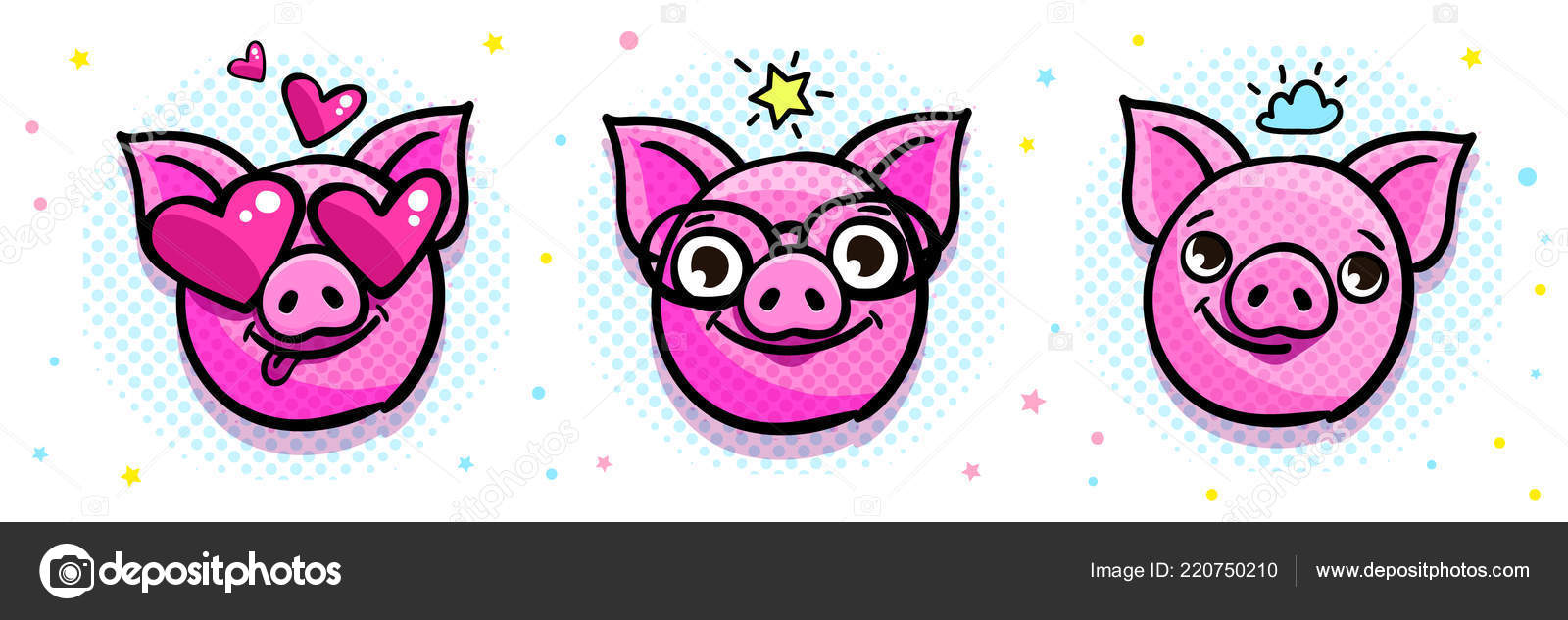 pig symbol 2019 new year head emoji pig pop art stock vector
