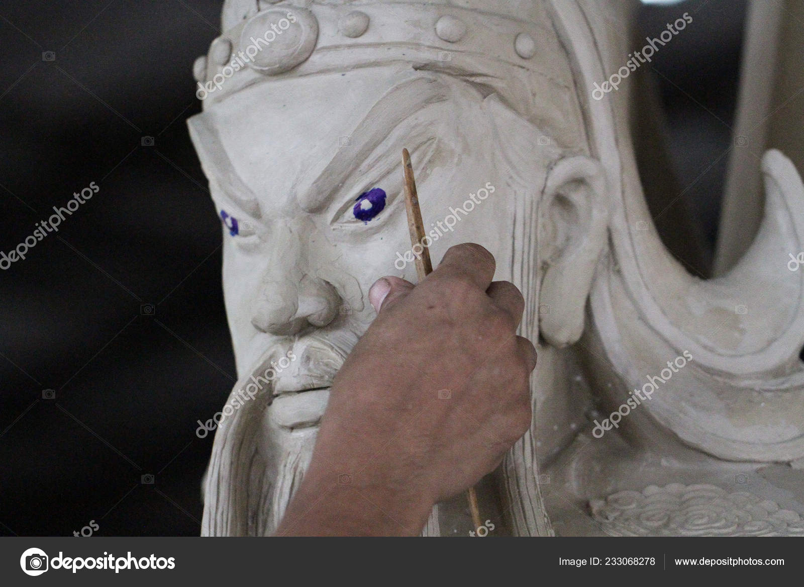 Sculptor Artist Creating Bust Sculpture Clay Hand Craftman