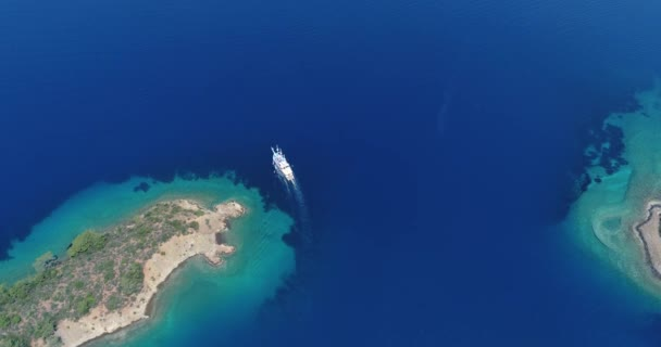 Amazing aerial view of picturesque gulf with crystal clear blue water. Turkey.