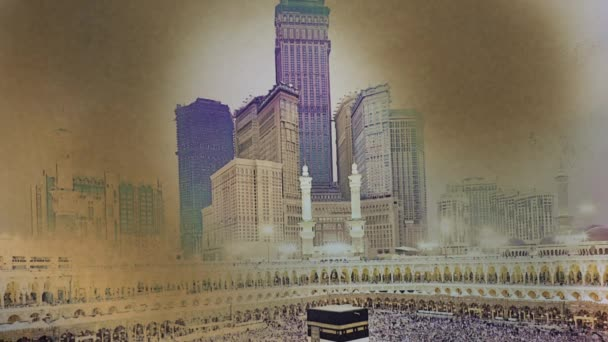 The Grand Mosque, Mecca, Saudi Arabia. Photo turn into ash. Time lapse. 4K.