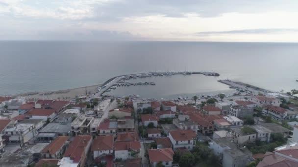 Aerial view of Nea Skioni Village, Kassandra Peninsula,  Greece. 4K