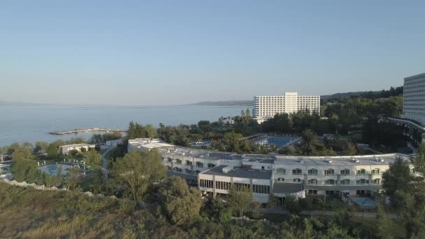 Aerial view. Big resort complex located by the coast of Mediterranean Sea. 4K