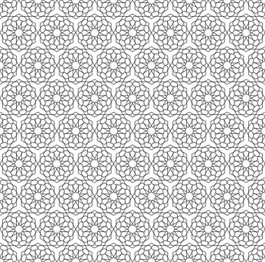 Seamless black Islamic pattern. Transparent background. Traditional oriental graphic style. Sample is included in swatch panel.
