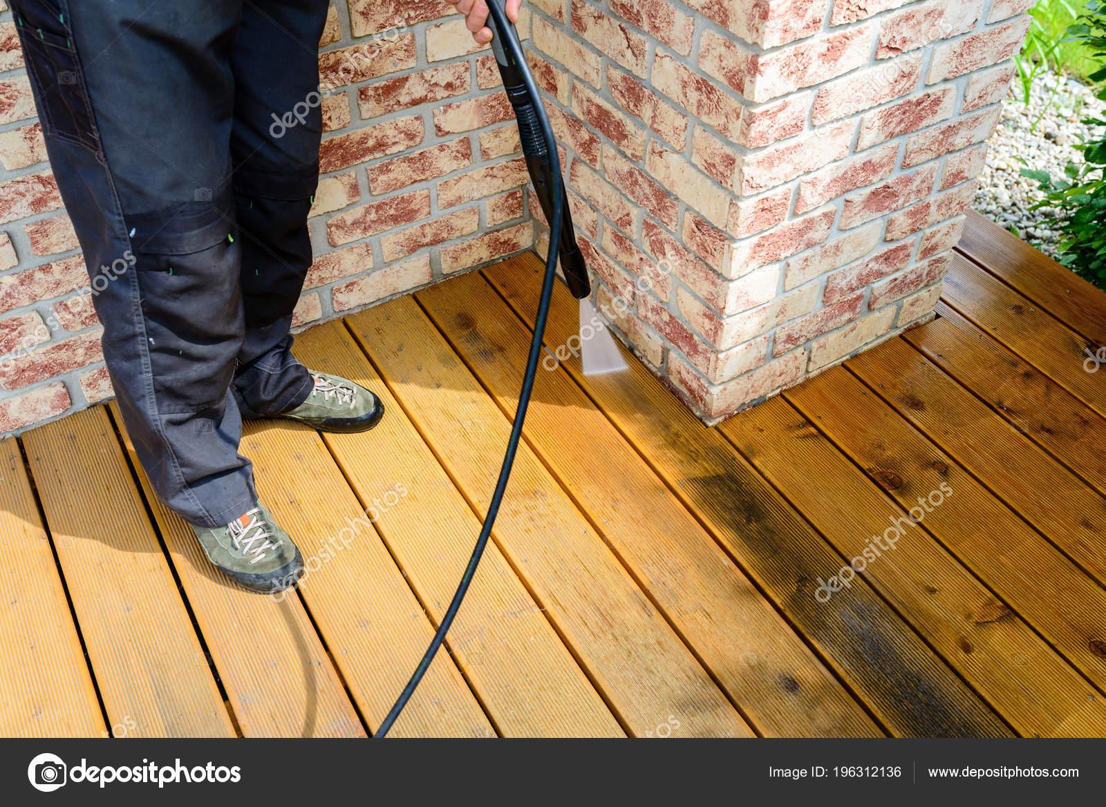 Limpieza Terraza Con Una Lavadora Alta Presión Agua Limpia