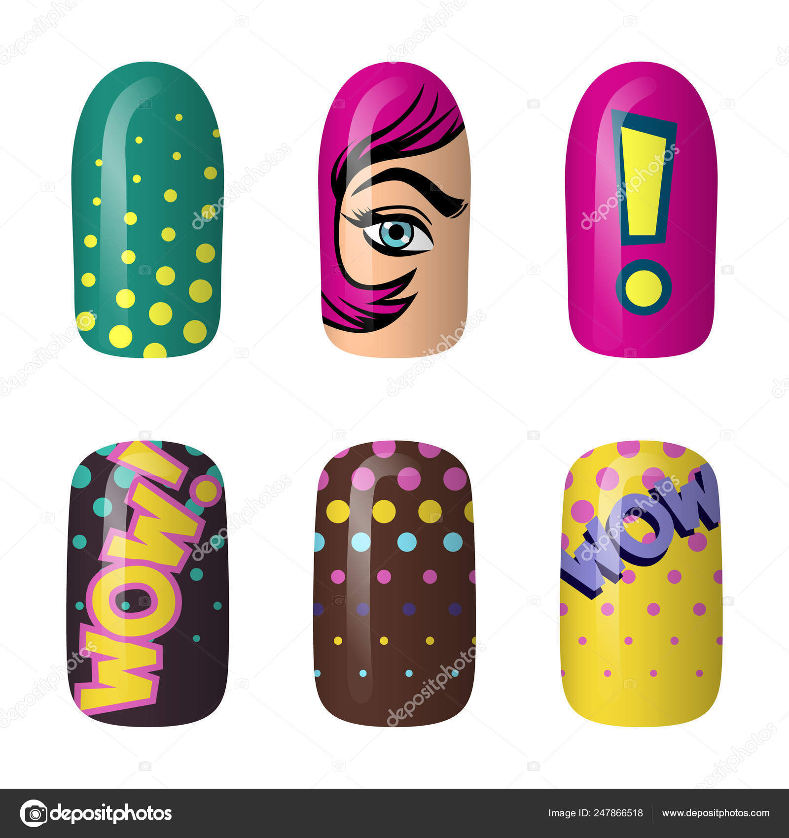 Pop Art Nails Set Of Colored Painted Pop Art Nail Stickers Neon Manicure Art Nail Polish Isolated On A Dark Background Stock Vector C Jkazanceva 247866518