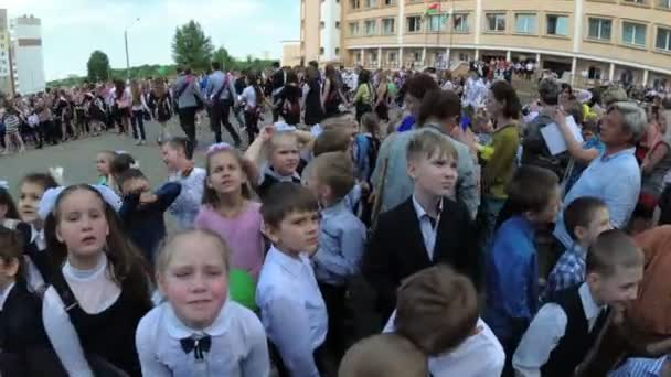 GOMEL, BELARUS - May 30, 2018: Solemn school line dedicated to the end of the school year. Last call.