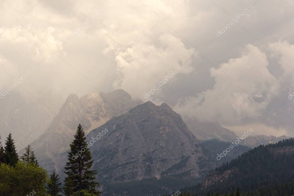 Beautiful Dolomite Mountains near Misurina Mountain Lake.