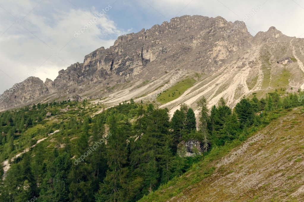 Beautiful Dolomite Mountains near Misurina Mountain Lake