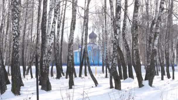 modrý kostel v březové háje v zimě