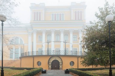 Palace of the Rumyantsevs and Paskevichs. Gomel. Belarus. View of the central part of the palace from a height. The main entrance to the building. The palace is located in the Gomel park. 2020