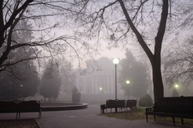 cozy benches in a city foggy park in the fall. Gomel, Belarus 2020