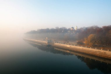 embankment of the city in autumn view of the Gomel River Belarus 2020