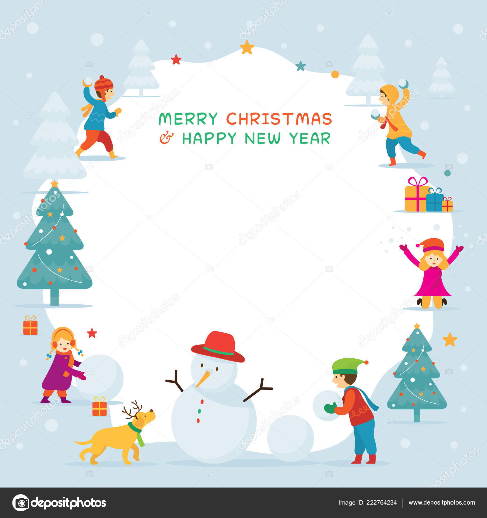 kids children playing snow frame christmas winter new year celebration stock vector