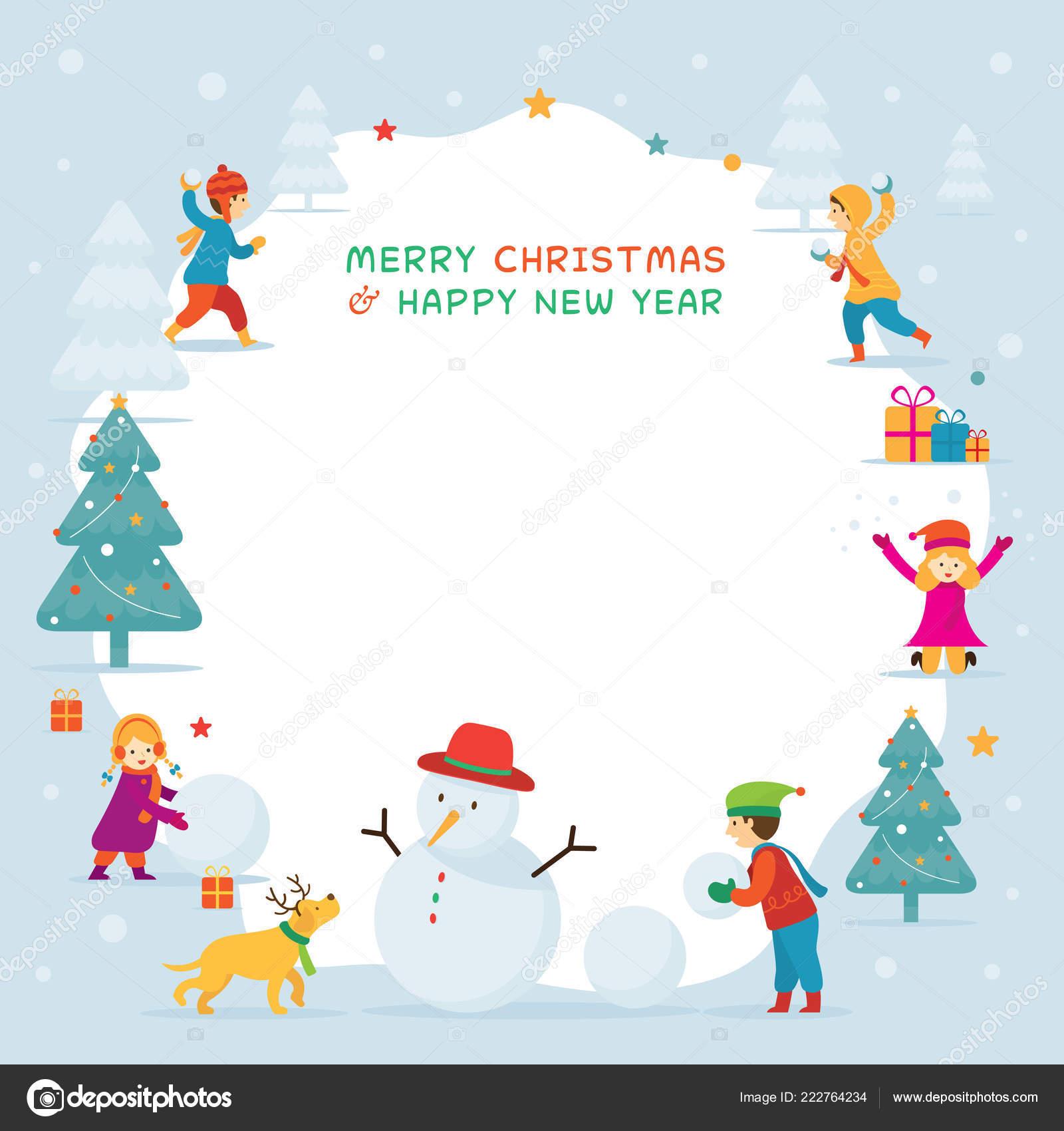 kids children playing snow frame christmas winter new year celebration stock vector