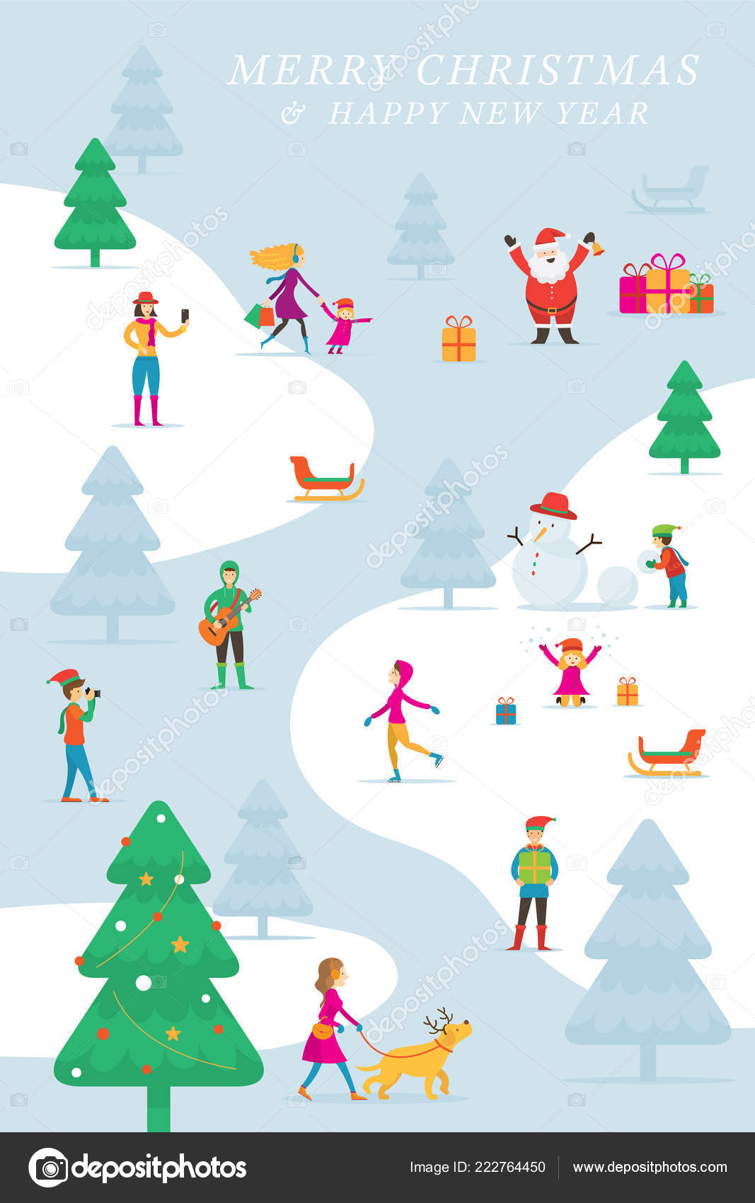 christmas people action activity outdoor winter background new year celebration stock vector