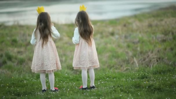 Two little princesses stand on a green meadow. Two little girls twins in smart dresses with crowns on their heads puff bubbles.