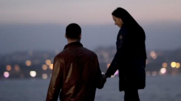 milující chlap a dívka se procházel noční město na pozadí jezero a noční světla. Romantický den