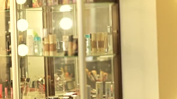Beautiful mirror in the beauty salon. Make-up mirror. Barber mirror close-up