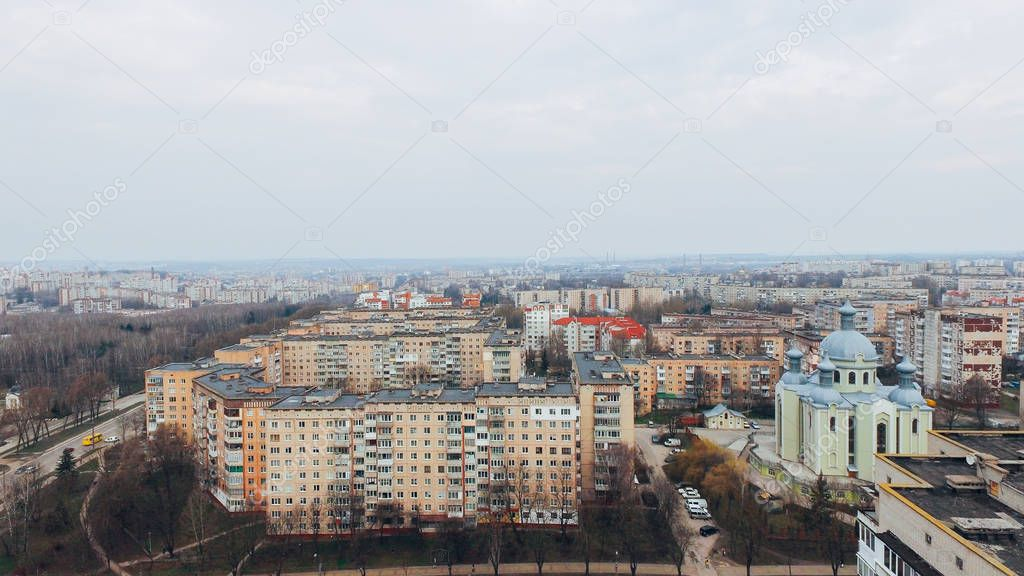 Aerial view of city, park, road from a birds eye view. Ukraine Ternopil