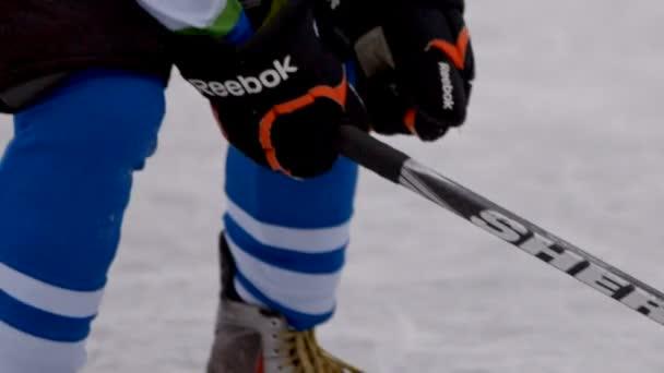 Hokejista na pozemní hokej s holí. Návykové hokejový zápas