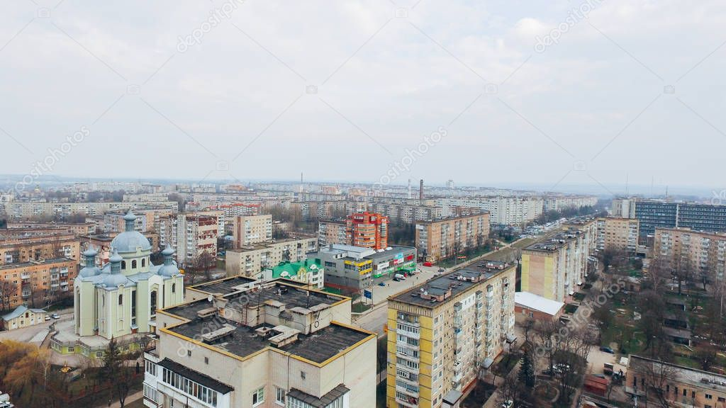 Aerial view of city from a birds eye view. Ukraine Ternopil