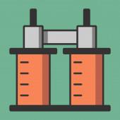 Elektromagnet mit Induktionsspulen einfache flache Abbildung