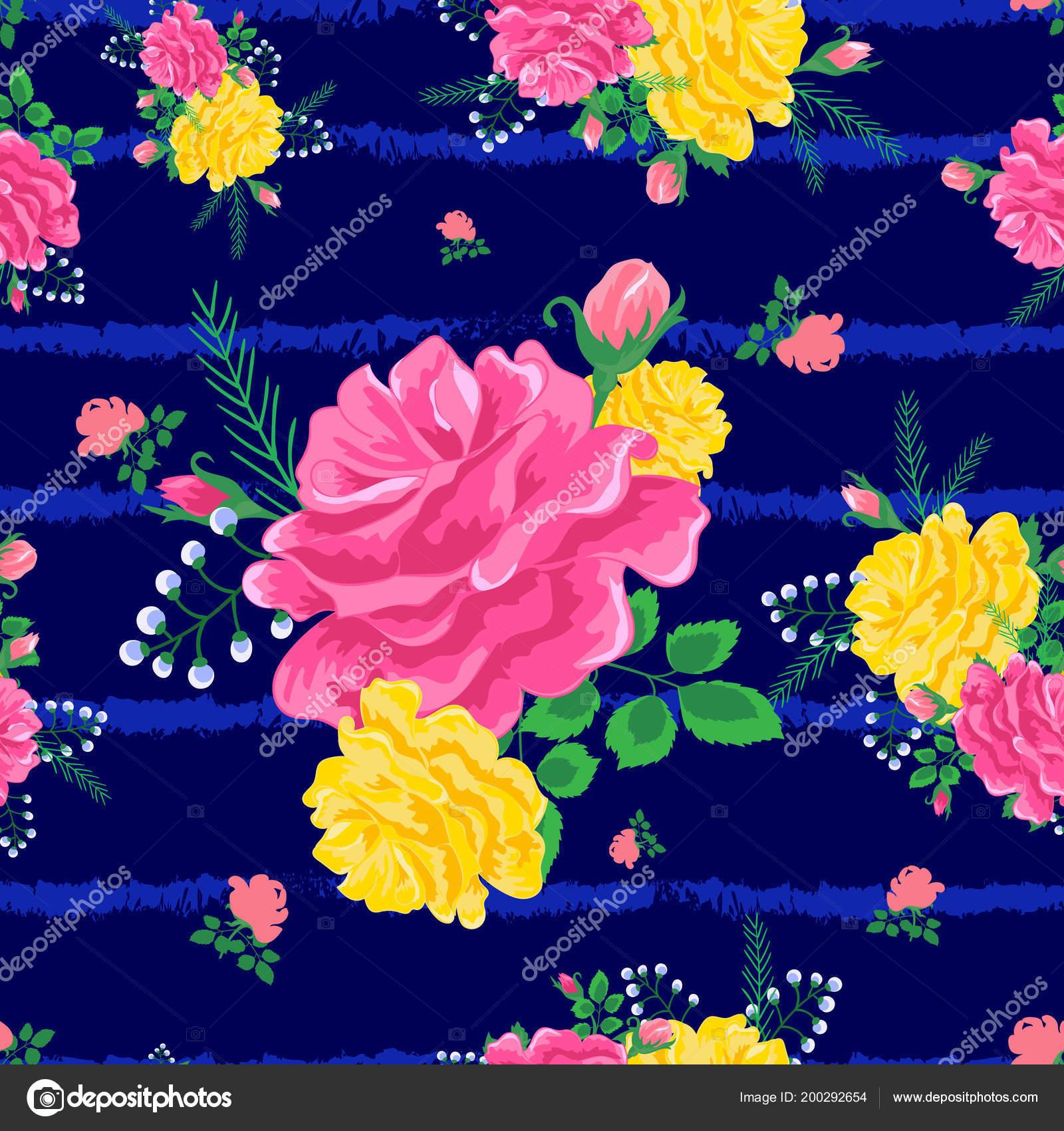 f8b9fee5d6604 Nahtlose Muster mit wunderschönen Rosen und Blätter auf einem dunklen Blau  gestreiften Meer Hintergrund. Sommer Abbildung. Schönen Druck für  Buchumschläge