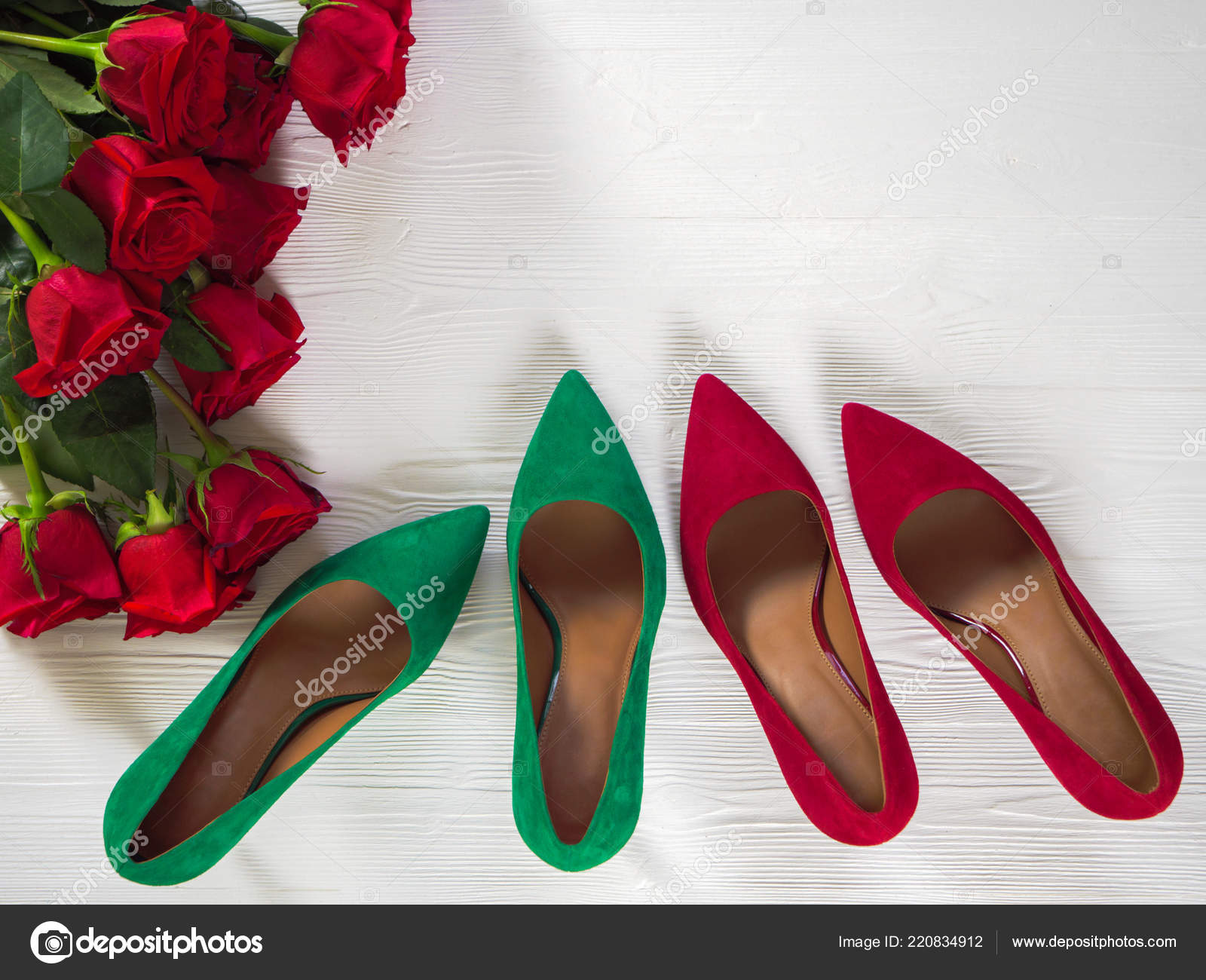 Womens Shoes Suede Green Red Heels