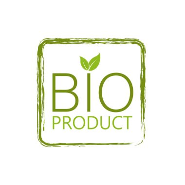 Icon with green bio. Nature, ecology. Vegetarian healthy food. Logo, icon, label. Vegan emblem. Banner design icon