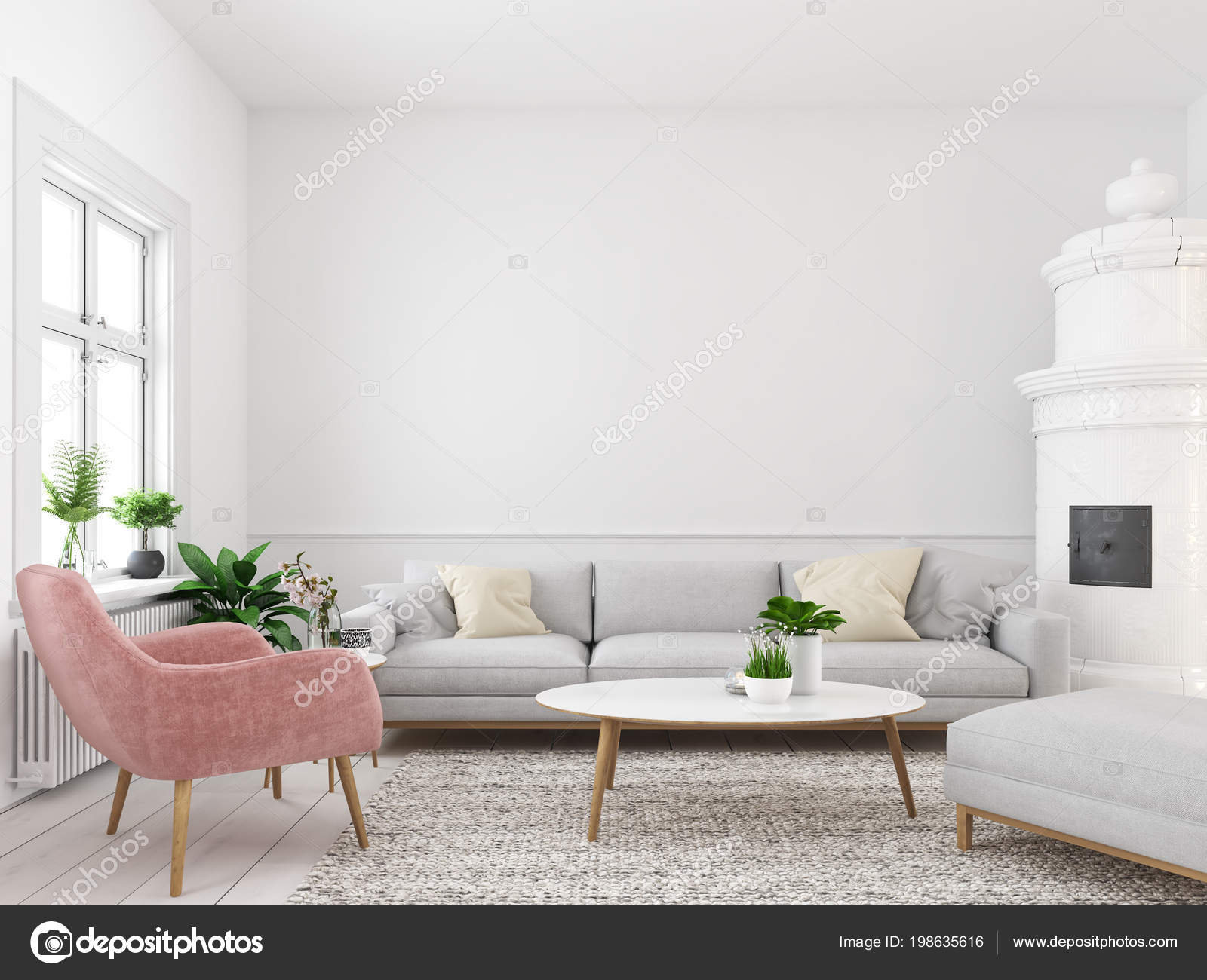 3d Rendering. Living Room With Empty Wall For Picture Frames U2014 Photo By  2mmedia