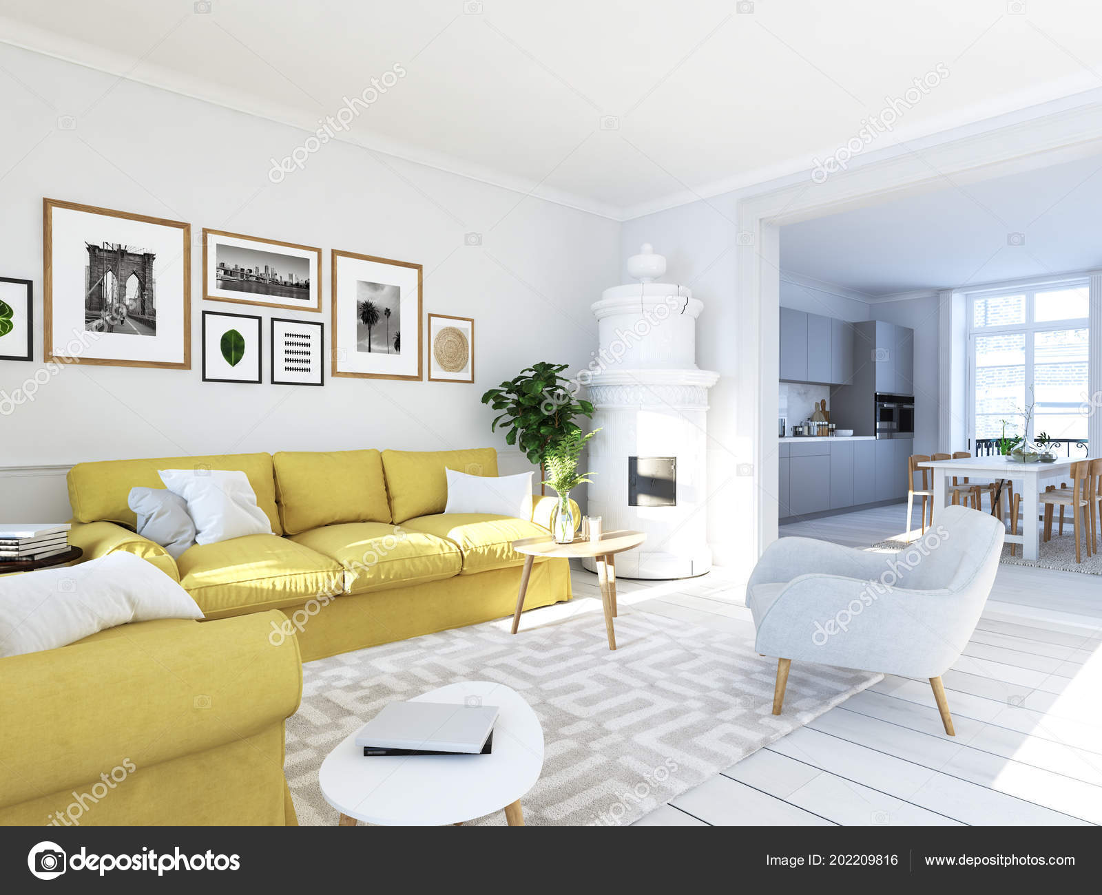 living room with picture frames and fireplace. 3d rendering — Stock ...