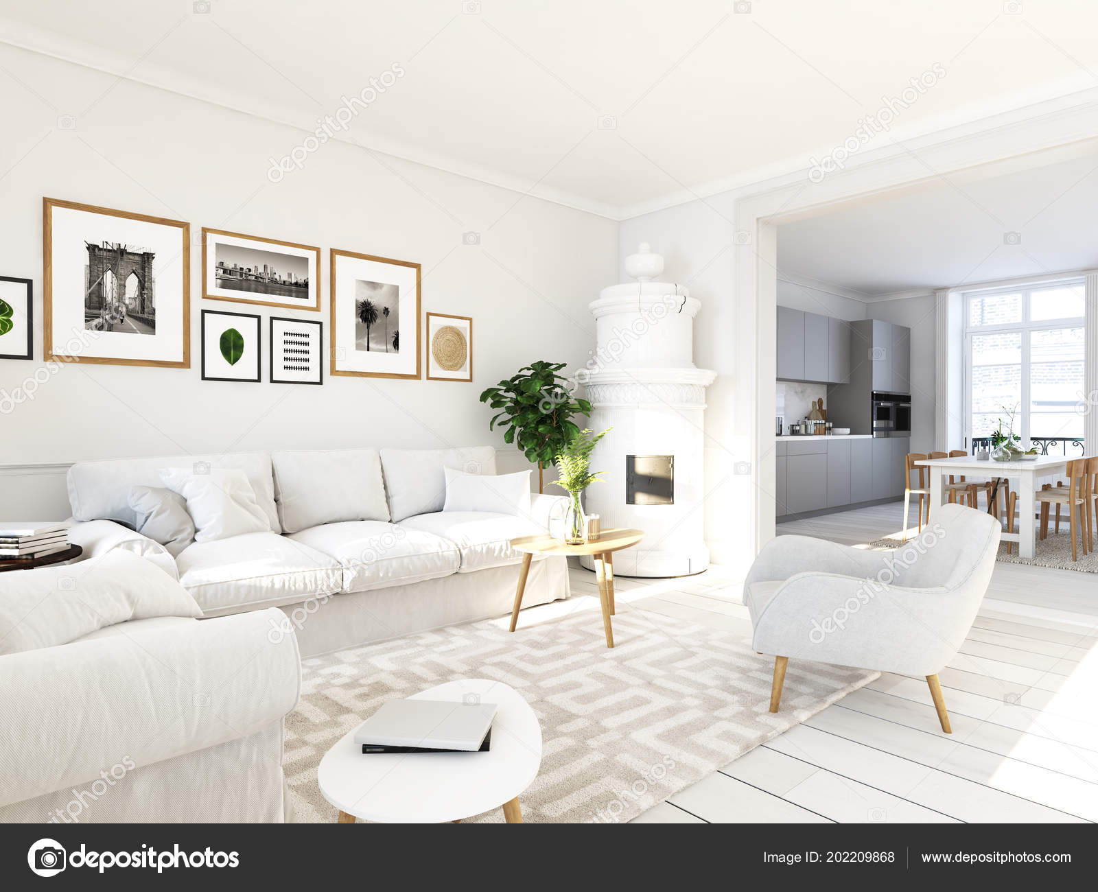 Living Room With Picture Frames And Fireplace 3d Rendering