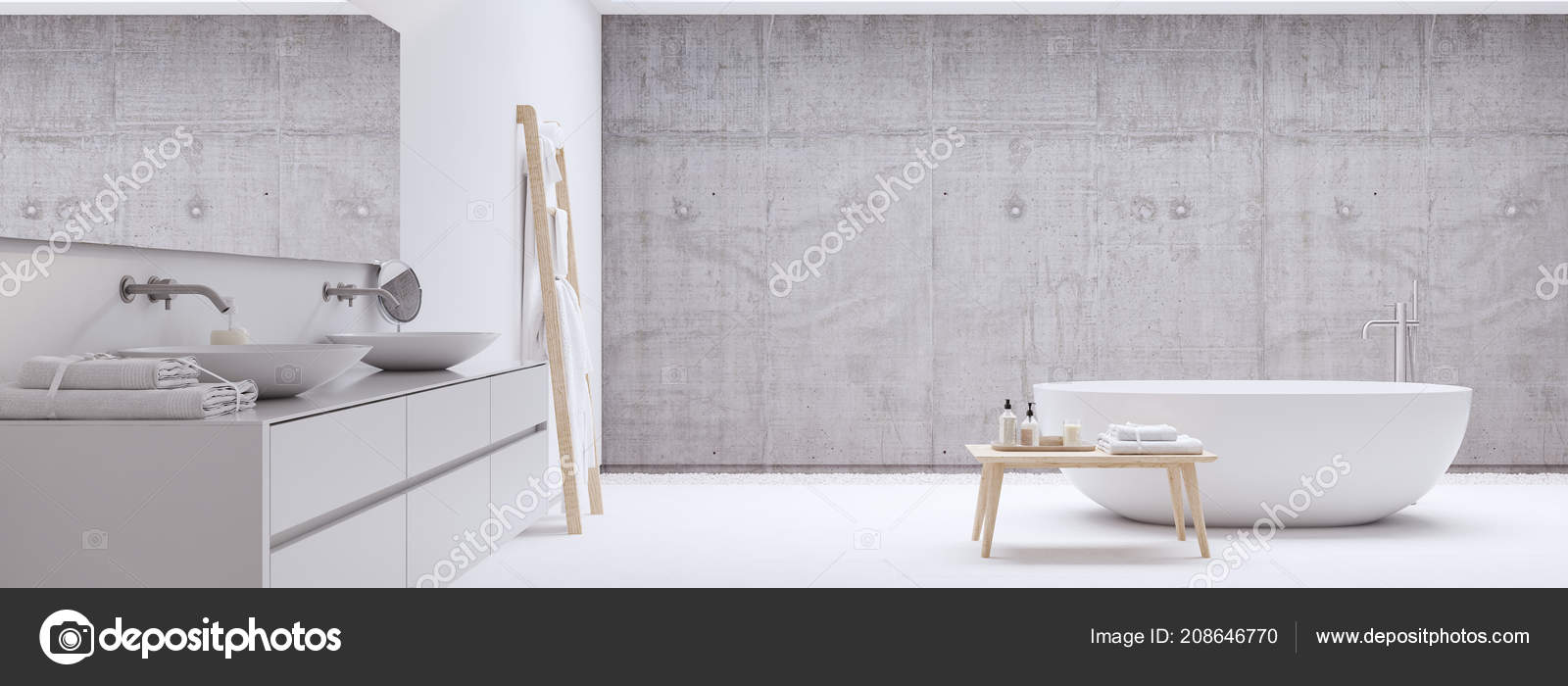 new modern zen bathroom with white wall. 3d rendering — Stock Photo ...