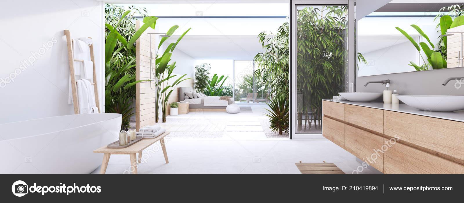 Rendering New Modern Zen Bathroom Tropic Plants — Stock Photo ...