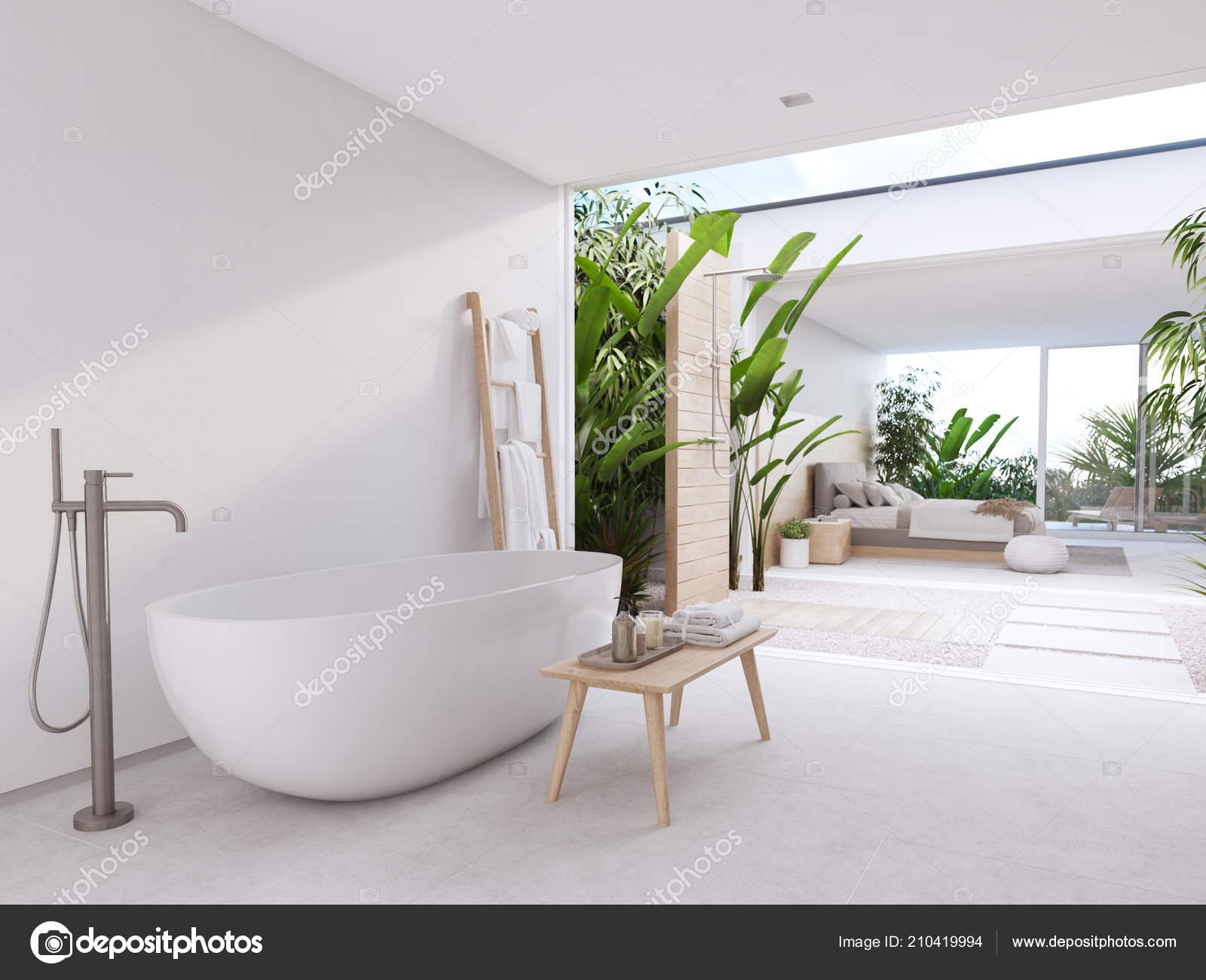 New modern zen bathroom with tropic plants. 3d rendering ... on bathroom with black accents, modern bathroom interior design, powder room interior design,