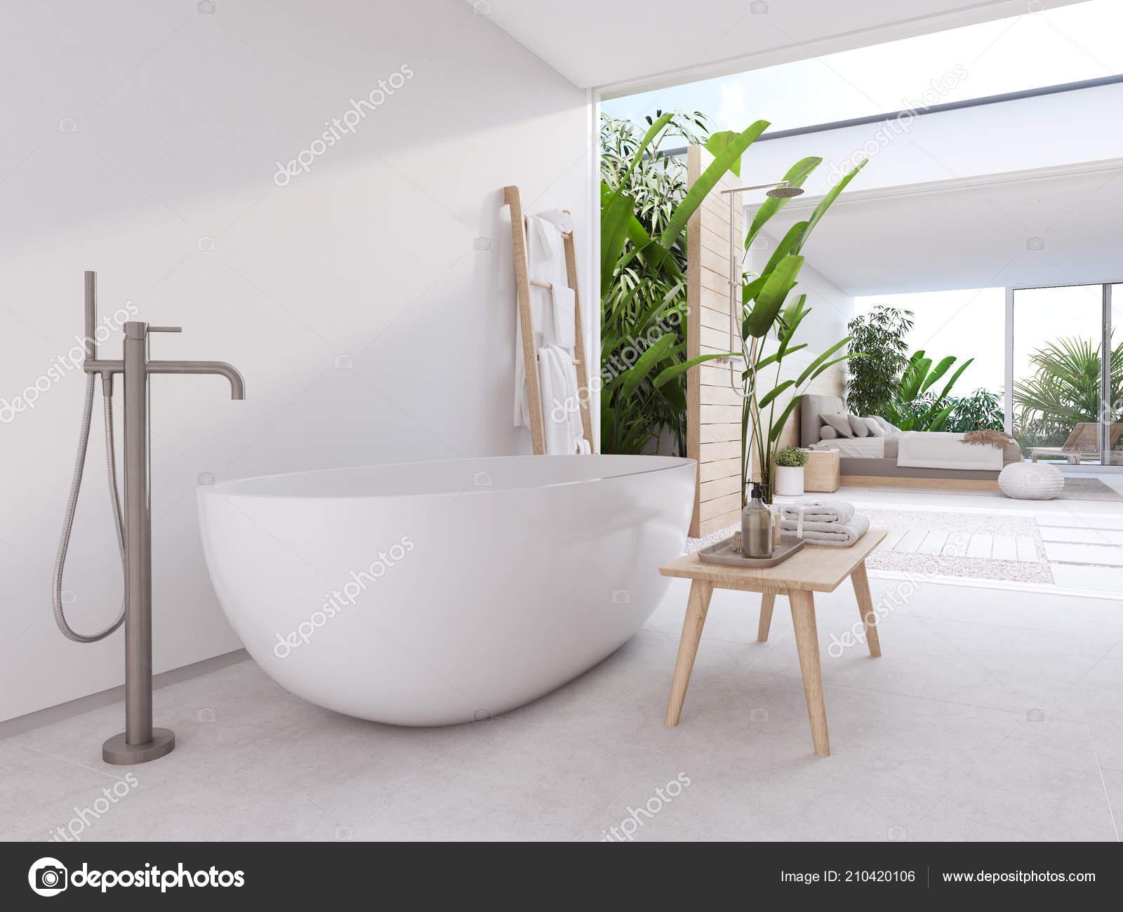 new modern zen bathroom with tropic plants. 3d rendering — Stock ...