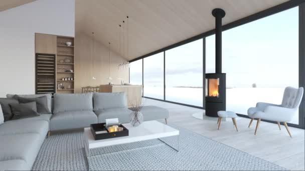 új modern skandináv tetőtéri lakás. 3D-leképezés