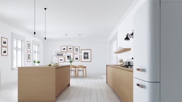 moderní severské kuchyně v podkroví byt. 3D vykreslování